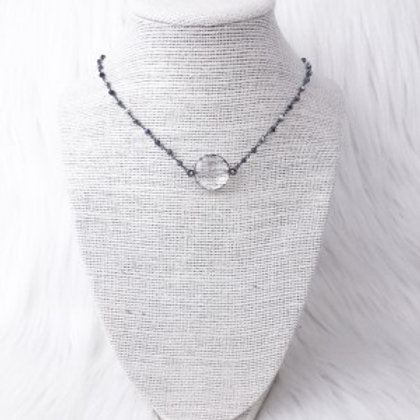 Mixed Gray Circle Crystal Necklace