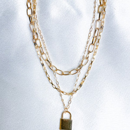 Gold Lock Set Necklace