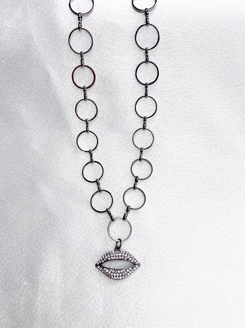 Gunmetal Kiss Necklace