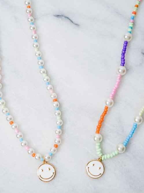 Beach Side White Smiley Necklaces