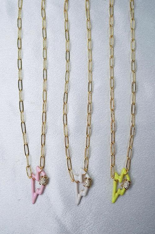 Neon Lightning Bolt Carabiner Necklaces