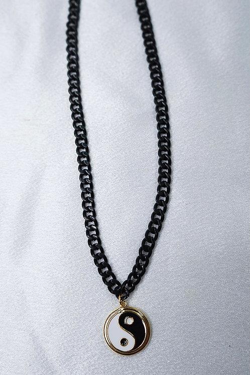Gunmetal Ying Yang Necklace
