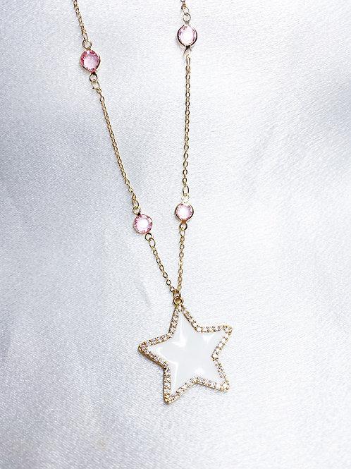 Pink Diamond Star Necklace