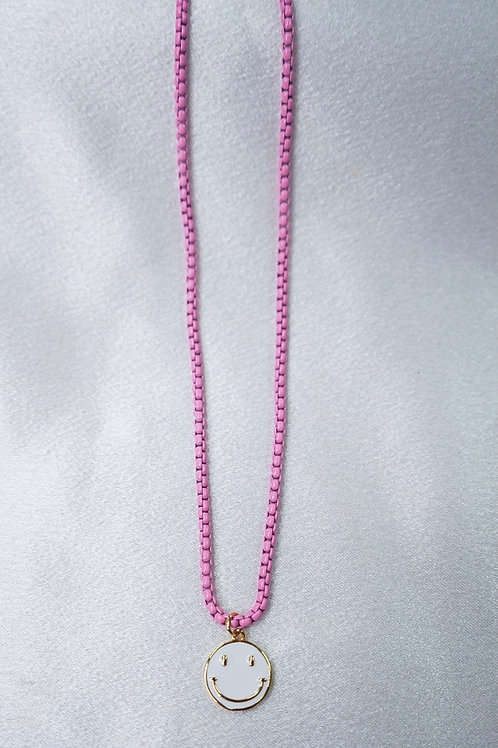 Neon Pink Smiley Necklace
