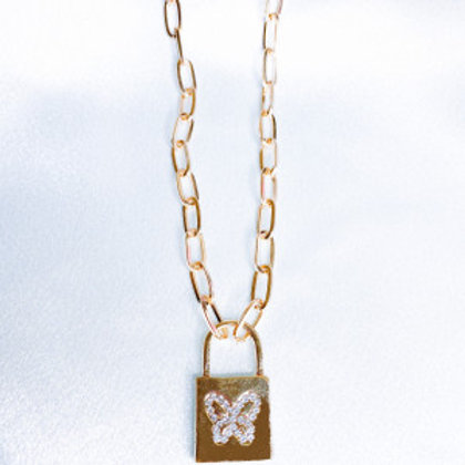 Gold Butterfly Lock Necklace