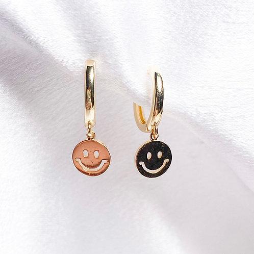 Gold Smiley Huggie Hoops