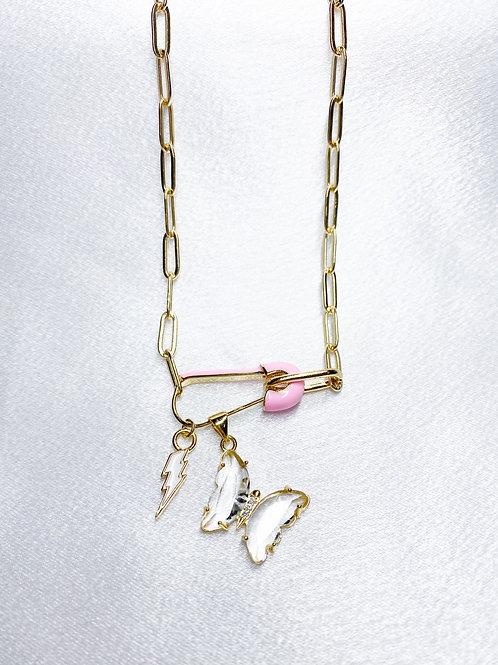 Light Bolt Butterfly Necklace