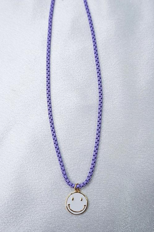 Neon Purple Smiley Necklace