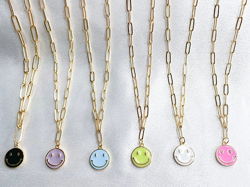 Smiles All Around Necklace (Paper Clip Chain)