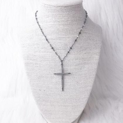 Mixed Gray Cross Necklace
