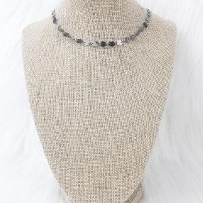Gunmetal Sequin Necklace