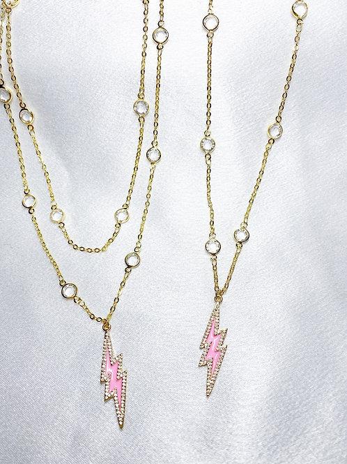 Pink Lightning Bolt Necklaces