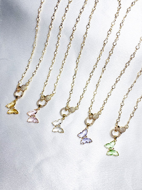 Crystal Butterfly Clasp Necklaces
