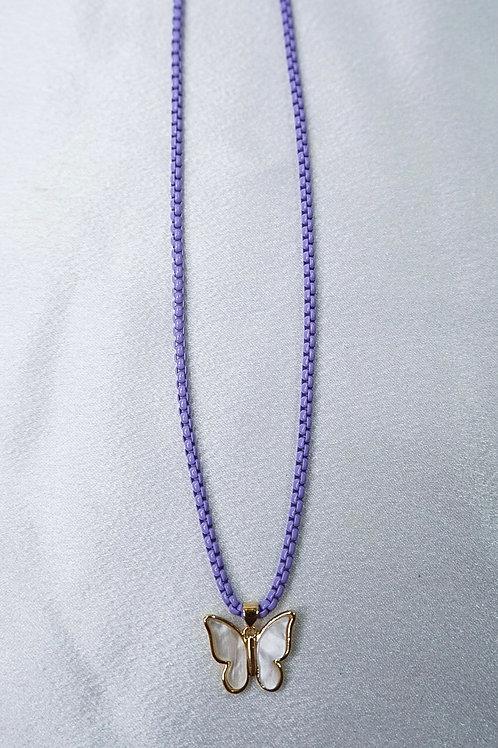 Neon Purple Butterfly Necklace