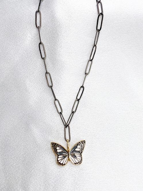 Gunmetal Flutter Necklace