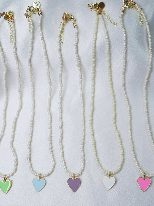 Seed Bead Neon Heart Necklaces