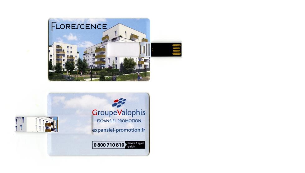 clé USB de commercialisation contenant une vidéo présentant le programme florescence pour expansiel promotion outil de communicatin innovant