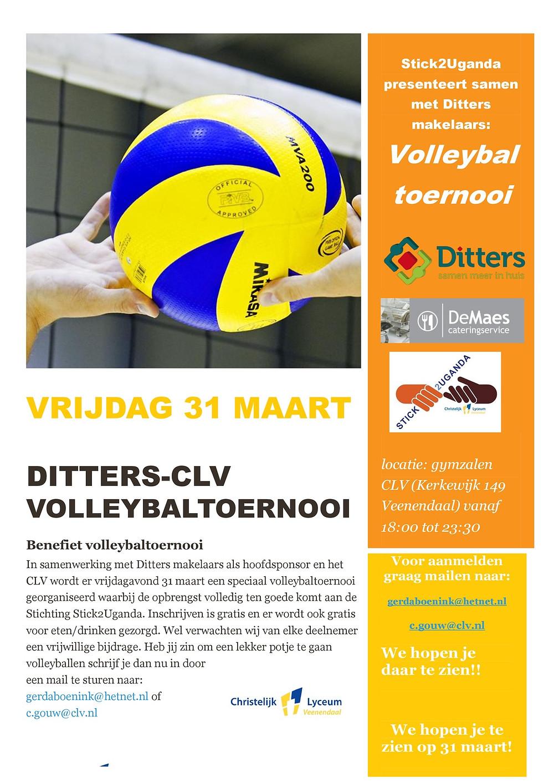 In samenwerking met Ditters makelaars als hoofdsponsor en het CLV wordt er op vrijdagavond 31 maart a.s. een speciaal volleybaltoernooi georganiseerd waarbij de opbrengst volledig ten goede komt aan de Stichting2Ugunda (S2U).
