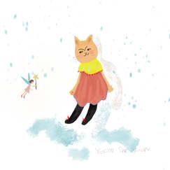 幼い頃、雪の日に空を見上げていると妖精が現れる事があった。妖精はすぐに姿を消してしまう。口をポカーンと開けて空をみている私をご近所さんは心配した。When I was young, a fairy sometimes appeared when I was looking up at the sky on a snowy day. The fairy disappears quickly. My neighbor was worried about me looking at the sky with my mouth open.