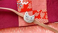 猫の帯留め