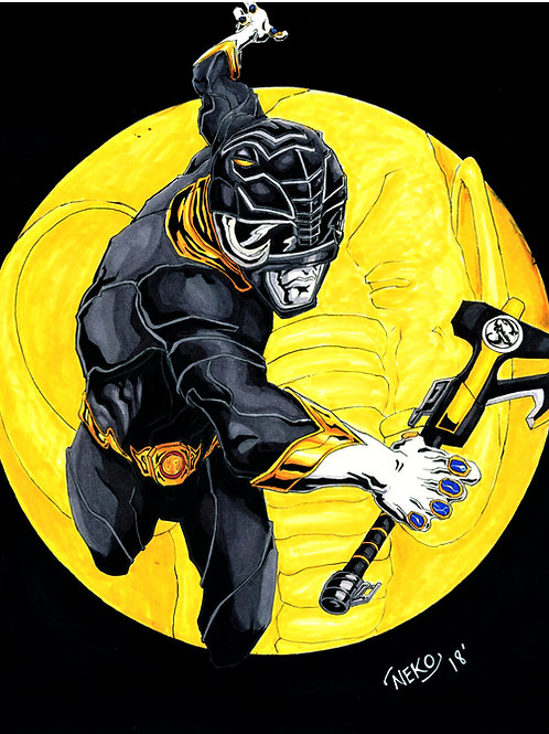 """Black Ranger (Mighty Morphin)"" Print"