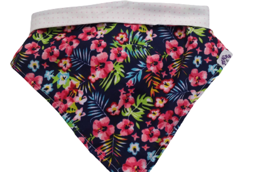 Bandana Tender flores/blanco con puntitos rosas