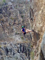 Free rope climbing rappel abseiling in Somoto Canyon