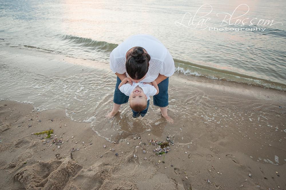 family photo sunset on the beach, Long Island, NY