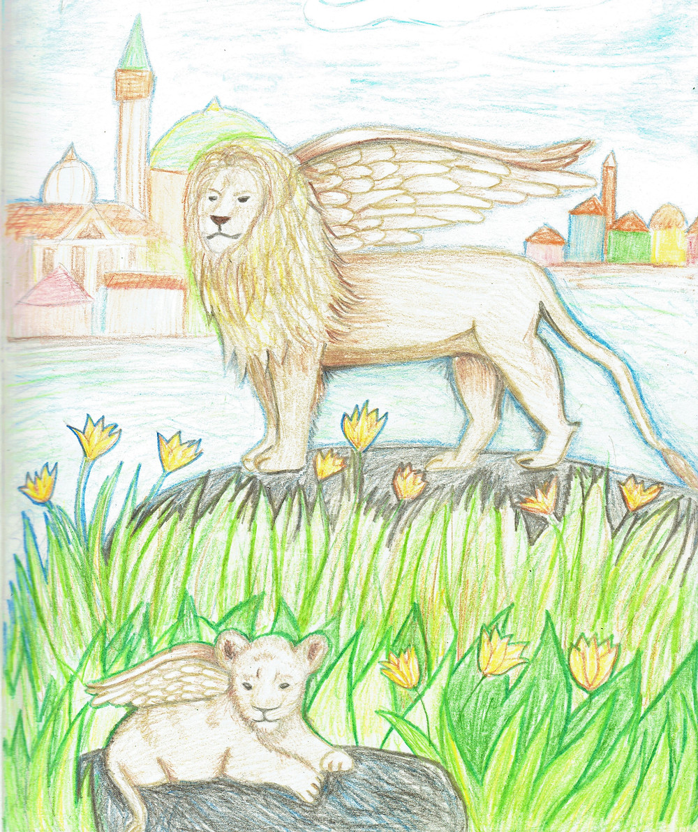 illustration of a winged lion and his cub in the marshes of venice