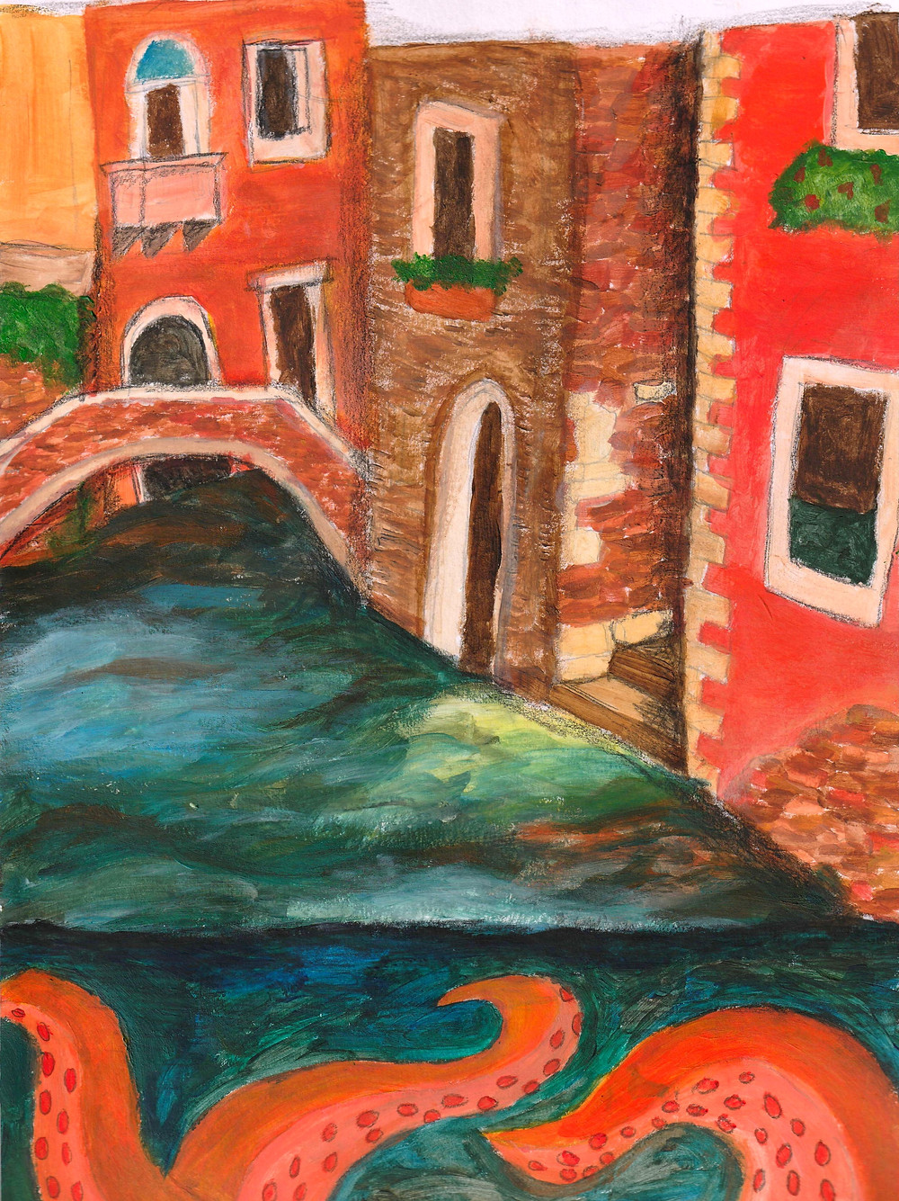 Hand painted image of a Venetian canal with the tentacles of a Kraken hiding beneath the surface of the water.