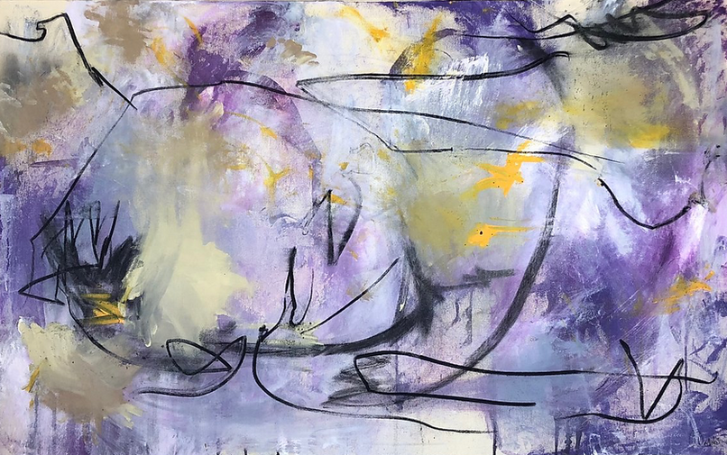 Alyssa Dabbs (b.1998). Fish Bowl. Acrylic, ink, oil and charcoal on canvas. 76 x 123 cm.