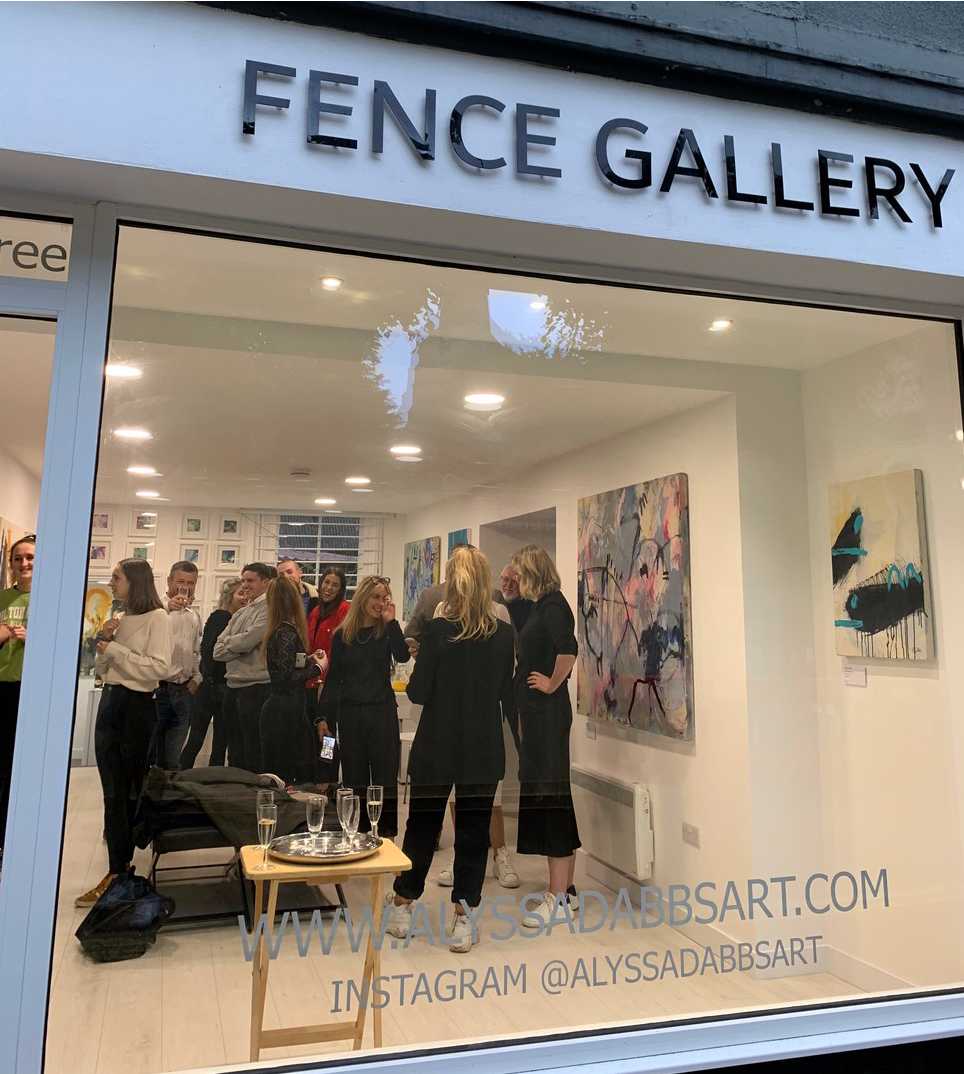 Private view for the exhibition of paintings by Alyssa Dabbs (b.1998) shown in Fence Gallery