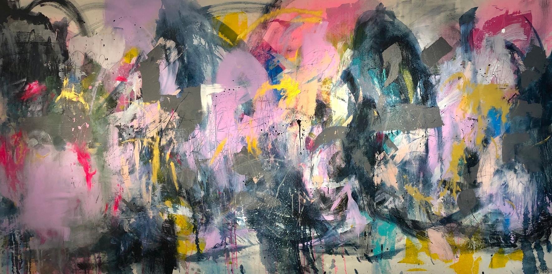 Alyssa Dabbs (b.1998). Bella. Acrylic, oil and ink on canvas, 120 x 240 cm.