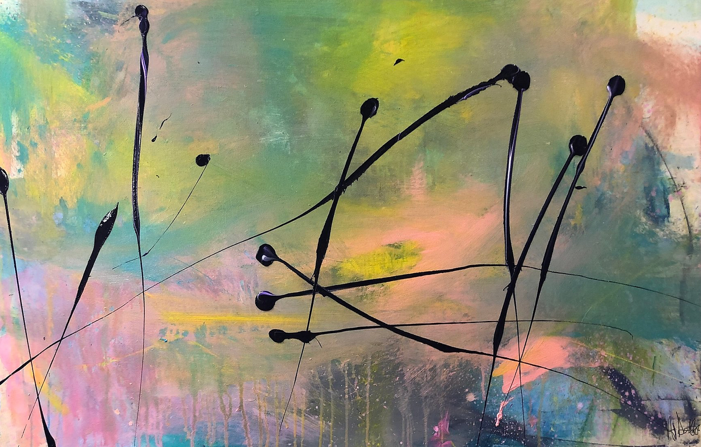 Alyssa Dabbs (b.1998). Reeds. Acrylic on canvas, 100 x 150 cm.