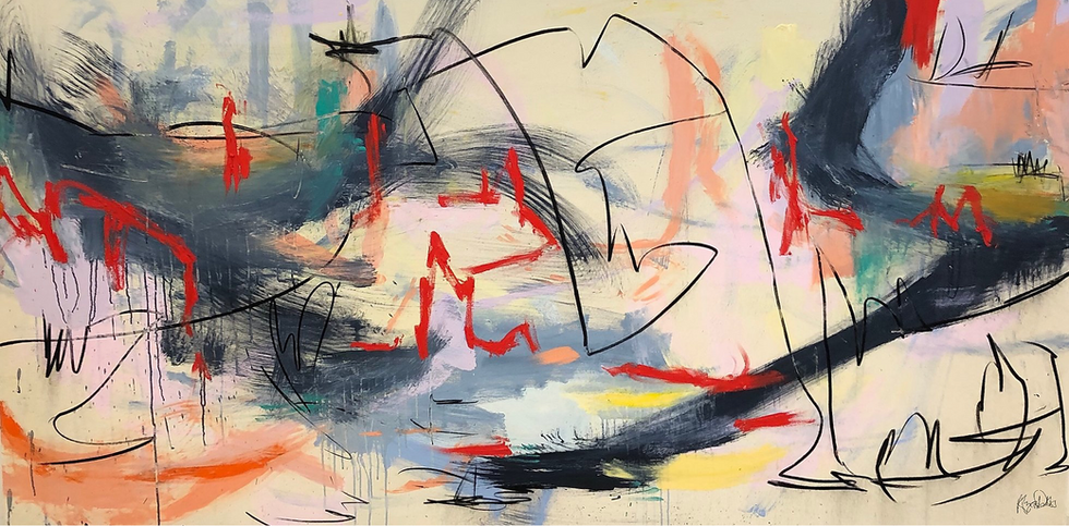 Alyssa Dabbs (b.1998). Rufus. Acrylic, oil, ink and charcoal on canvas. 130 x 244 cm.
