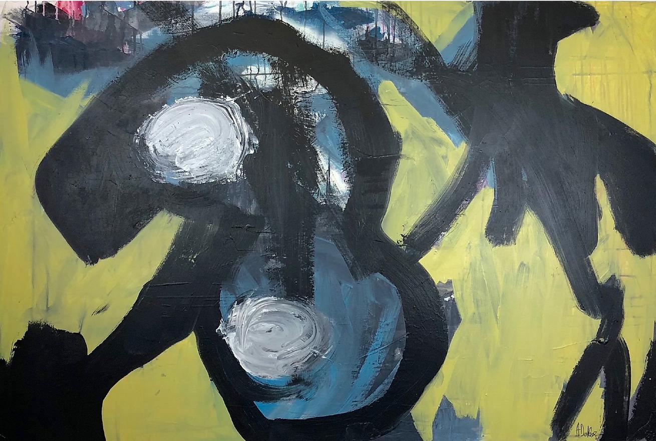 Alyssa Dabbs (b.1998). Baby Bird. Acrylic and ink on canvas. 100 x 150 cm.