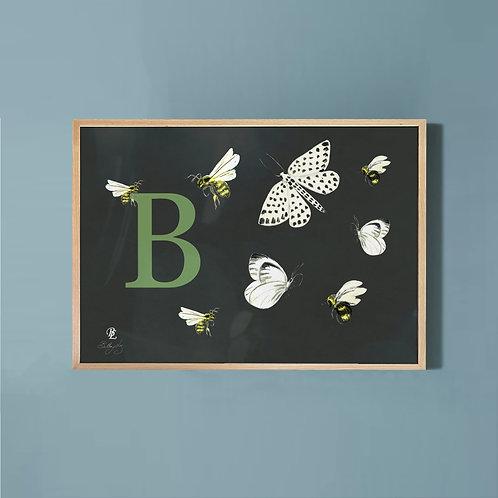 Butterflies & Bees-Charcoal