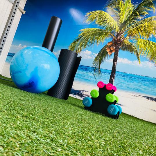 芝生とトレーニング器具