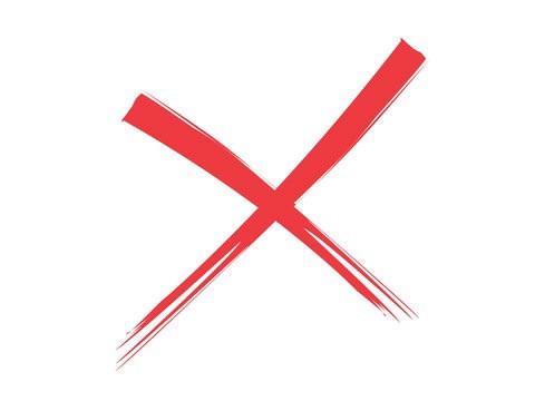 赤色の×印
