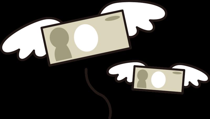 お金が飛ぶイラスト