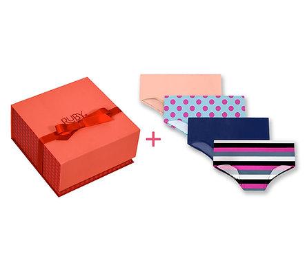 First Period Kit + 4 pc Teen Period Underwear Hipster Bundle