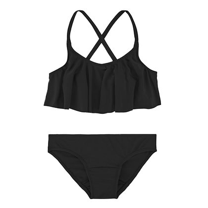 Period Swimwear Ruffle Set (Black Sea)
