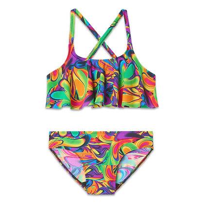 Period Swimwear Ruffle Set (Watercolor Tropics)