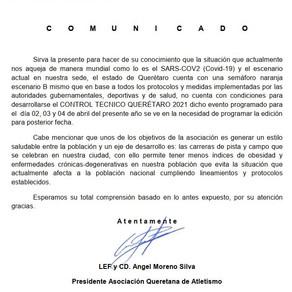 Comunicado Urgente - Asociación Queretana de Atletismo
