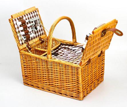 両開きAll in One Picnic Basket(2人用)保温・保冷クーラーバッグ付き