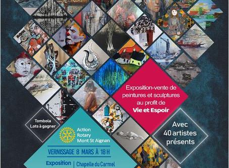 """Le Rotary Club de Mont Saint Aignan vous invite au vernissage de""""Art en Chapelle""""."""