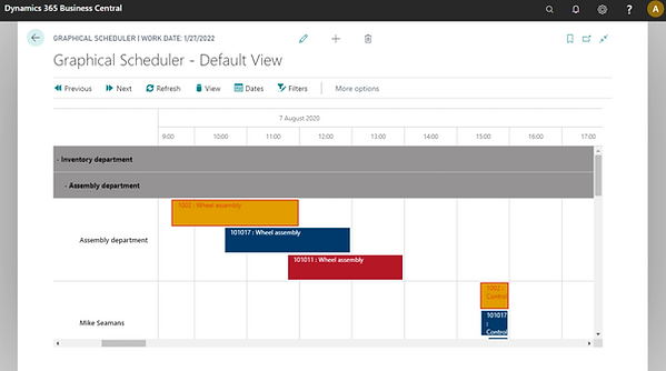 Business Central graphic scheduler