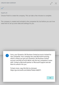 Business Central: Sorry, your Dynamics 365 Business Central Account is locked for new companies.