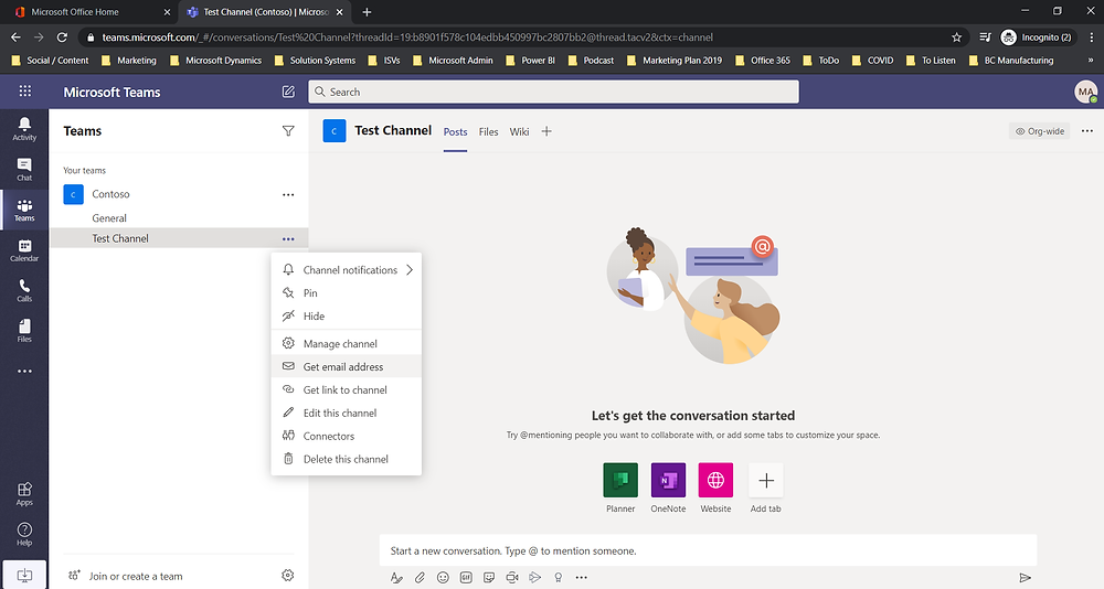 How to email your Teams Channel or Breakout Group