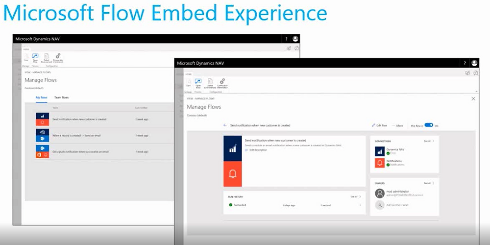 NAV 2018 - What's New - Microsoft Flow Embed Experience